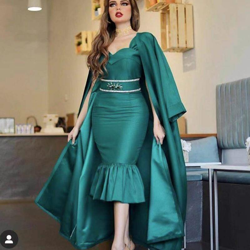 Elegant Hunter Green Caftan Evening Dress Dubai Mermaid Short Prom Dresses With Caped Plus Size robe de soiree 2020 vestidos
