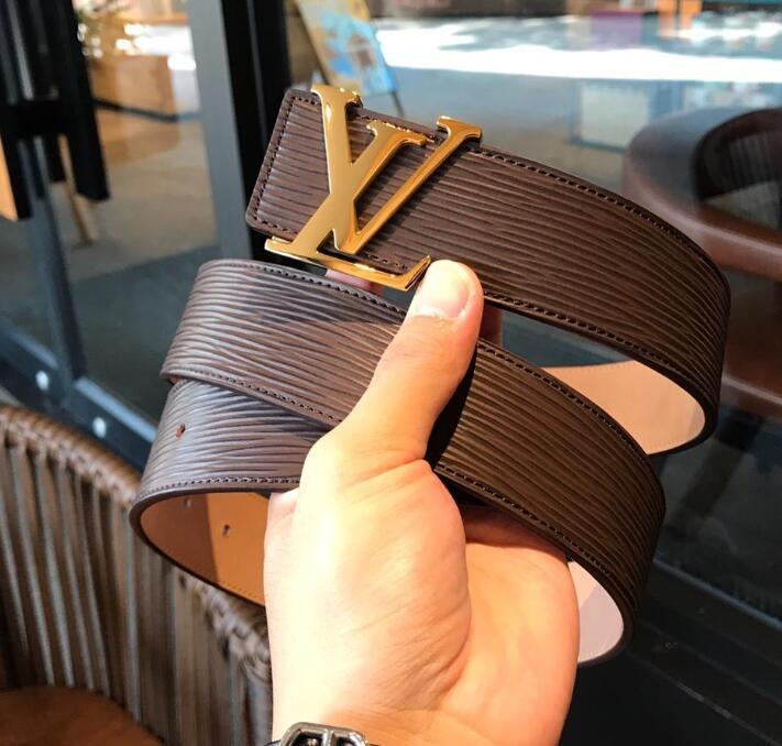 2019 Best-vendita di pelle di alta qualità Belt uomini e donne d'oro in argento fibbia fibbia nero Consegna gratuita con la scatola 52