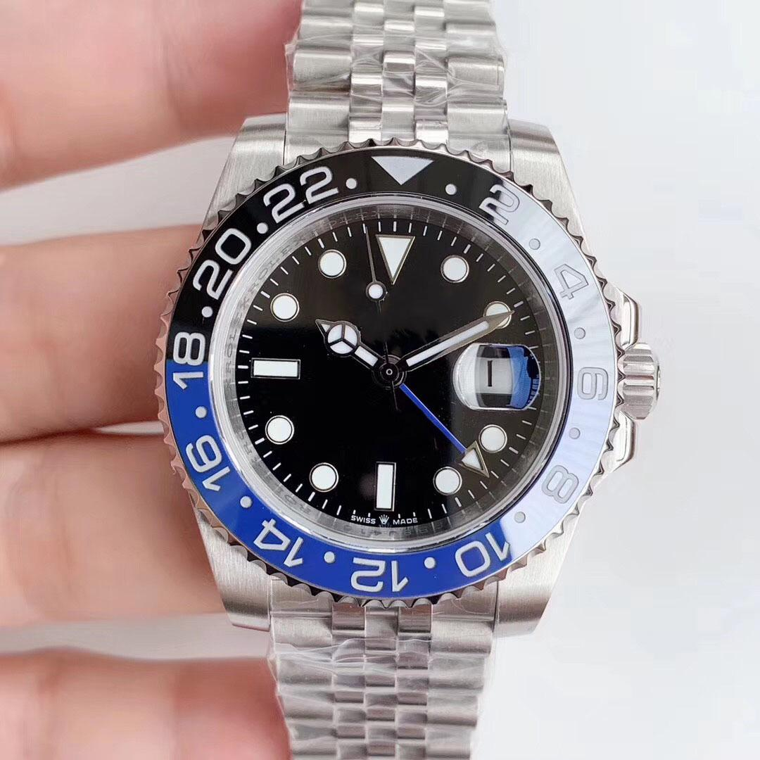 Moda Suya Dayanıklı ünlü erkekler Kırmızı Mavi Paslanmaz Çelik Rose Gold Otomatik Çalışma GMT Mens marka İzle Reloj Kol saatı