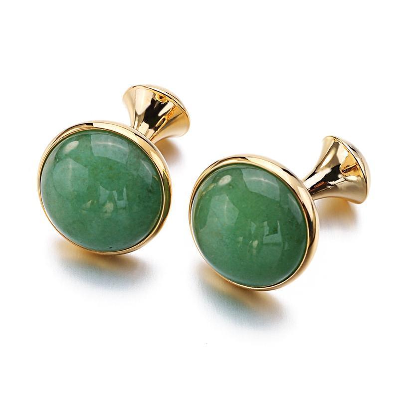Low-key Luxe Opal Boutons de manchette pour Hommes Couleur Or plaqué de haute qualité Marque ronde verte Cat Liens Eye Cuff Pierre Meilleur cadeau