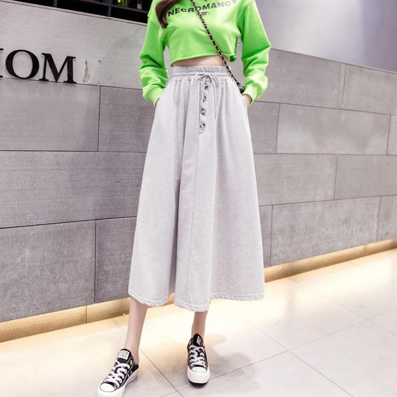 Skirts Autumn Winter Women Long Skirt Black Grey High Waist A-line Cotton Club Party Wear Elegant Streetwear Midi