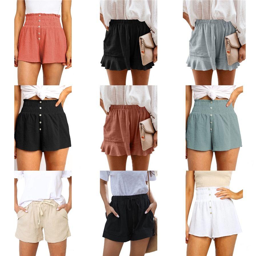 51Quality 2020 para mujer de Carga manera del algodón verde caqui pantalones cortos de verano pantalones cortos mujeres sueltan el Multi-bolsillo del pantalón casual # 259