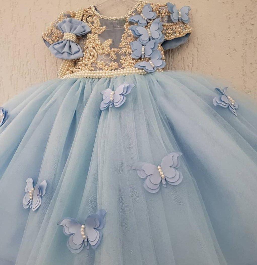 Lüks İnciler Çiçek Kız Elbise Prenses Balo Ağızlık Mücevher Boyun Kısa Kollu Altın Çizgi Kelebek Güzel Doğum Günü Elbise Yay Çocuklar