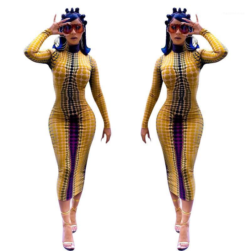 Женщины Bodycon Платья Сексуальные Женские Узкие Платья Дизайнер Платья Женщин Осень Клобук Шеи Длинным Рукавом Волна