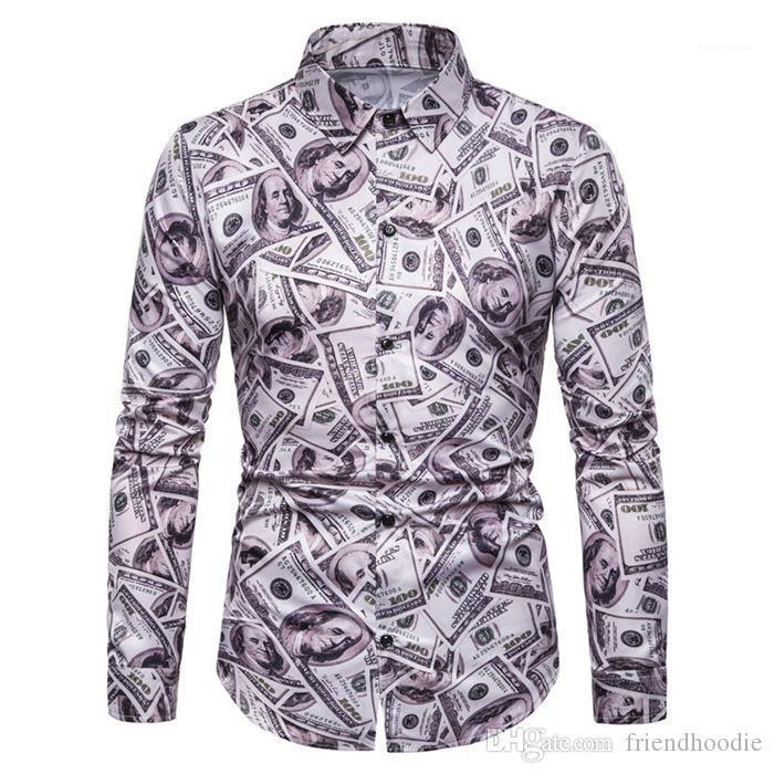 Mens Casual Shirts Long Sleeve Turn Down Collar Shirts Designer Costumes Mens Apparel All Dollar Print