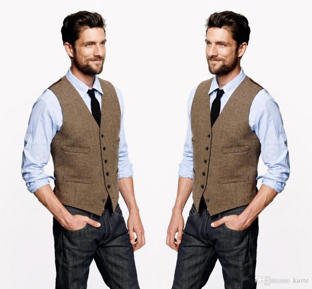 2019 Farm Wedding Vintage Brown Tweed Gilet Custom Made Groom Vest Mens Slim Fit Gilet da sposa su misura per uomo