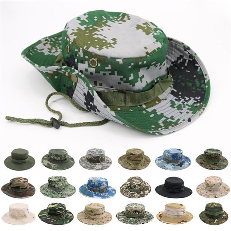 Yaz açık hava spor kamuflaj şapka şapka Yuvarlak kenar güneşlik şapka Güneş kremi balıkçı kap Parti HatsT9I00326