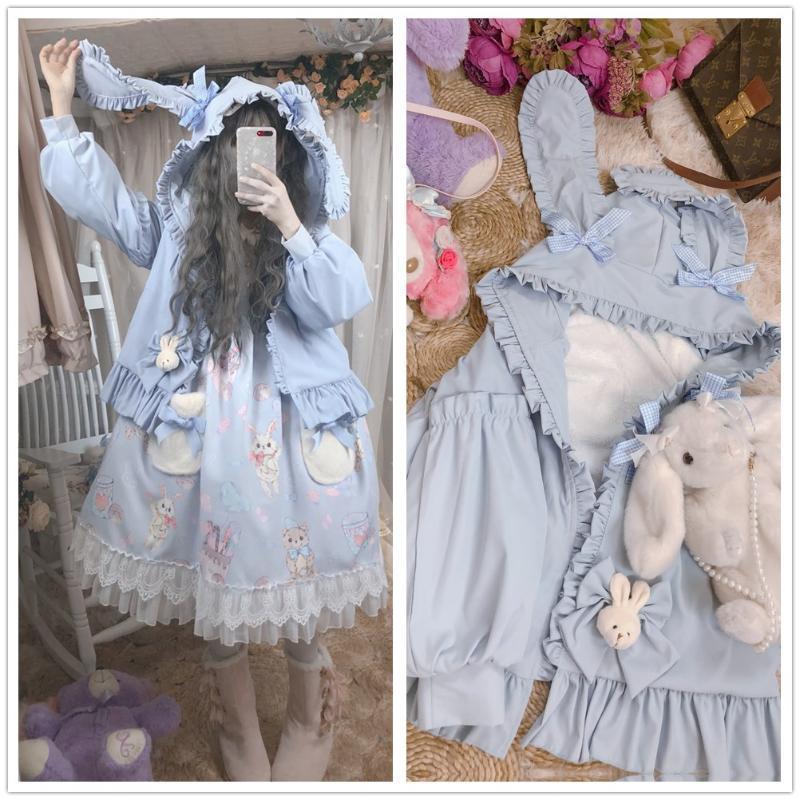 Original Design Cute Light Blue Women's Hooded Coat Ears Thicken Coat Cashmere Cute Lolita Doll