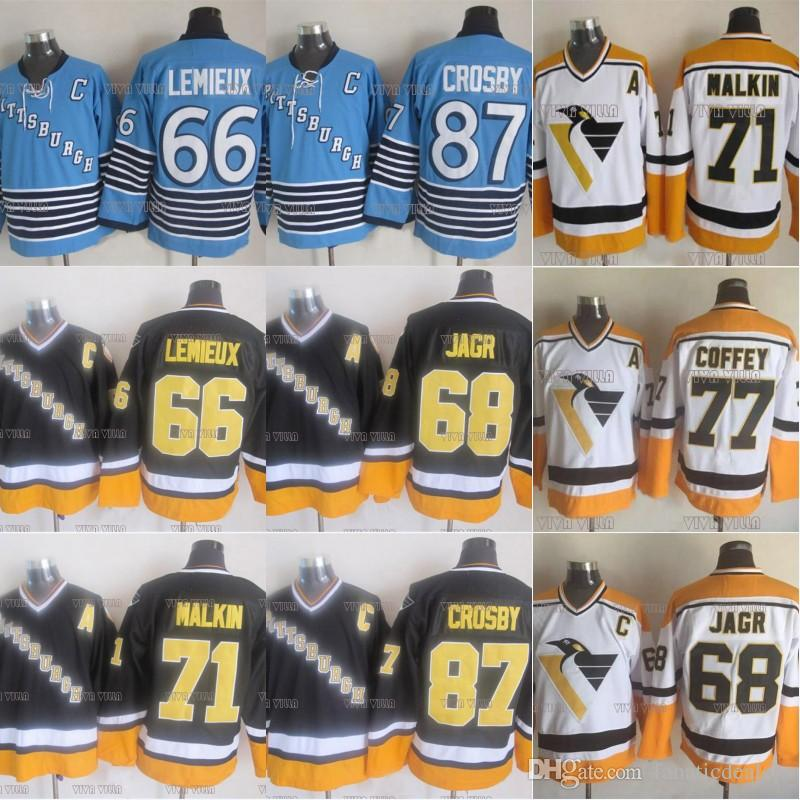 66 Mario Lemieux Pittsburgh Penguins Ice Hockey Jersey 87 Crosby 68 Jagr 71 Malkin 77 Coffey 35 BARRASSO Stitched Name&Number Hockey Jersey