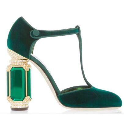 Hot Sale-Court Prom Party Pumps High Quality Designers Lady Velvet Dress Shoes Crystal Rhinestone Heel Woman High heel Bride Pumps