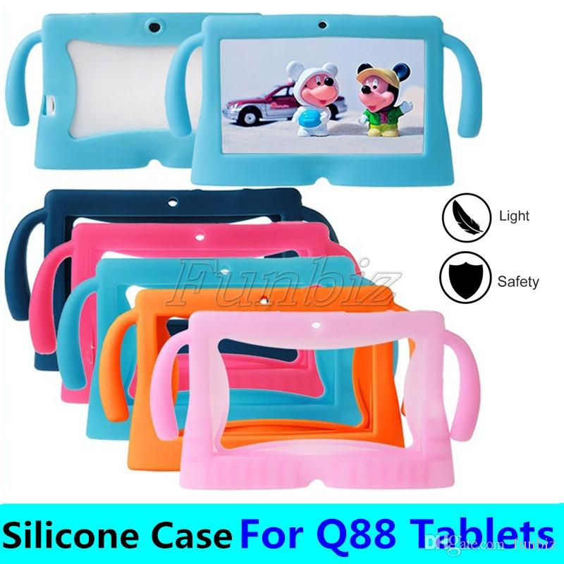 "Colorful Kids carton Soft Silicone Silicon Case Protective Cover Rubber with handle For 7 "" Q88 A13 A23 A33 Tablet pc MID"