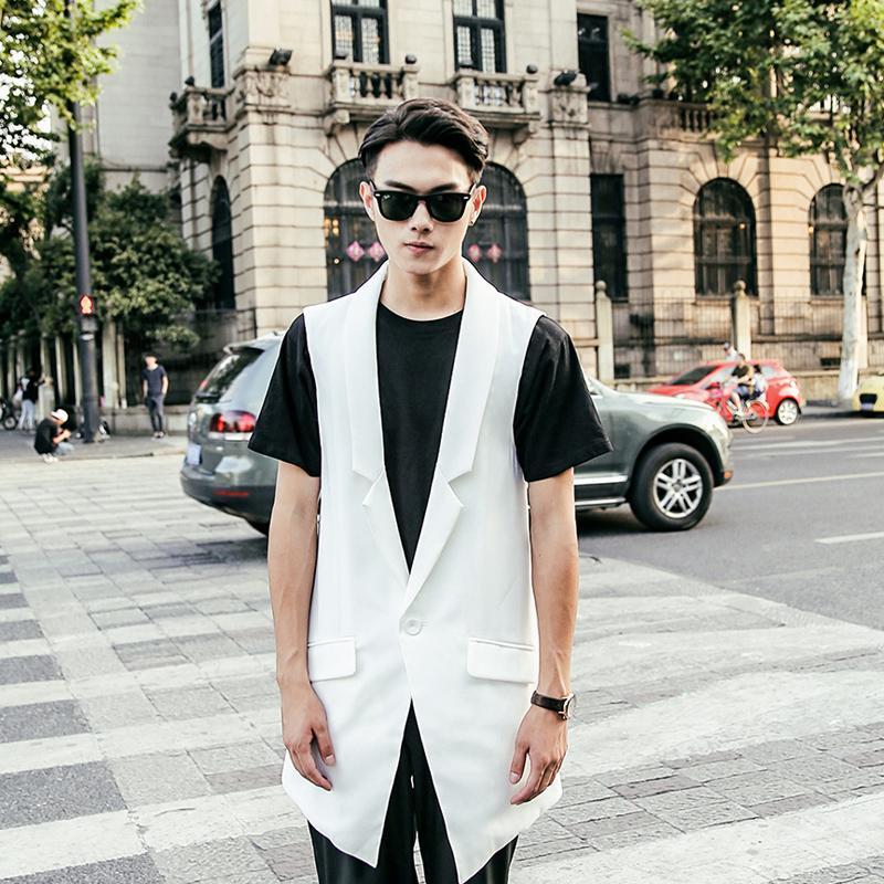 Men personality DJ hip hop punk long vest colete masculino men's nightclub stage costume gothic style gilet slim fit chaleco