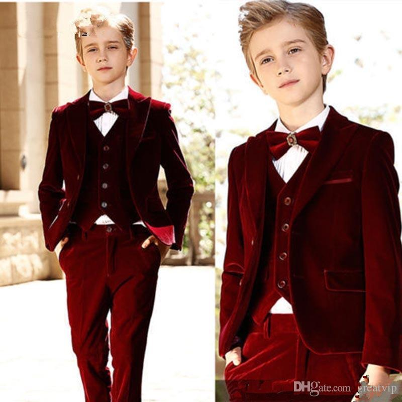 Burgundy Boy Formal Suits Dinner Tuxedos Velvet Little Boy Groomsmen Kids Children Special Occasion Suit Formal Wear (Jackets+Pants+Vests)