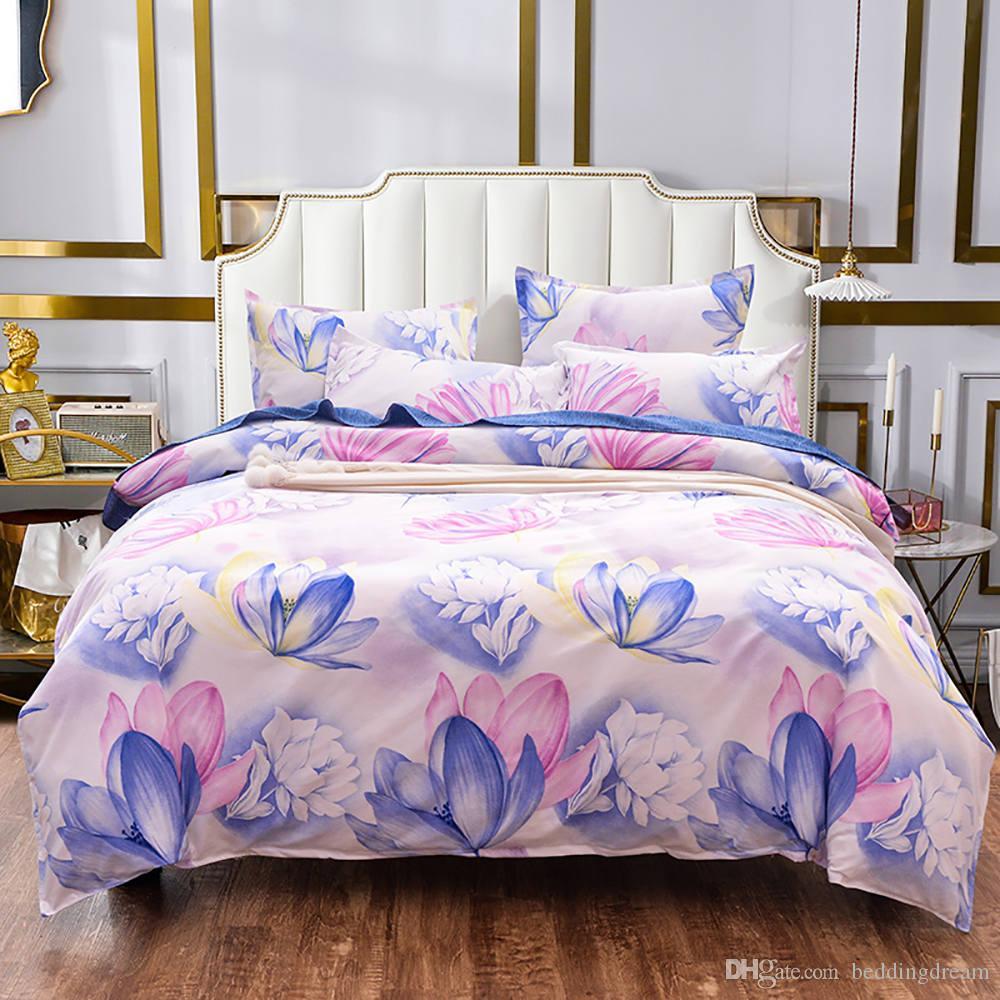 Lotus del lecho de la reina Tamaño romántica elegante funda nórdica floral Rey de gama alta gemelo completa sola cubierta confortable cama con la funda de almohada