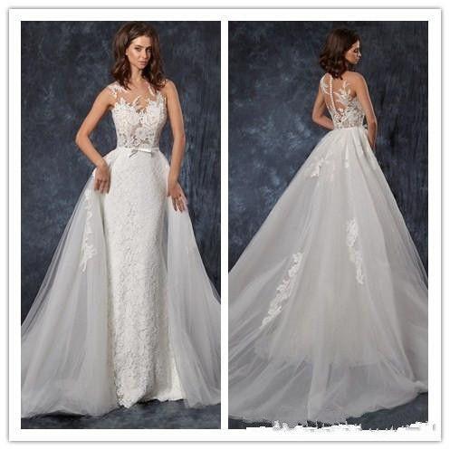 2019 Gorgeous Cape Sheer Jewel Mermaid Lace Wedding Dresses Plunging Neck Bohemian Wedding Gown Appliqued Plus Size Bridal Vestidos