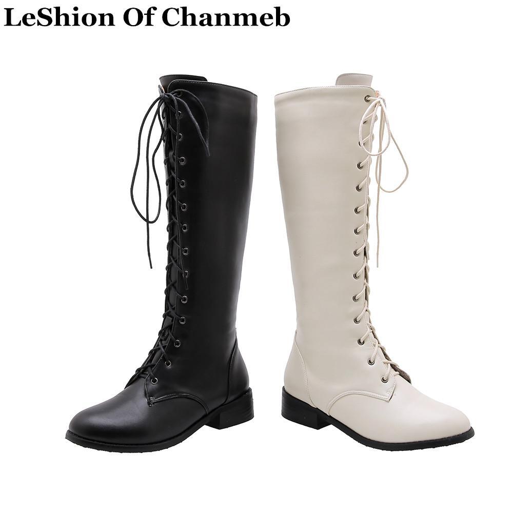 여성 전투 부츠 크기 33-46 신발 검정, 흰색 무릎 높은 부츠 숙녀 따뜻한 겨울 신발 레이스