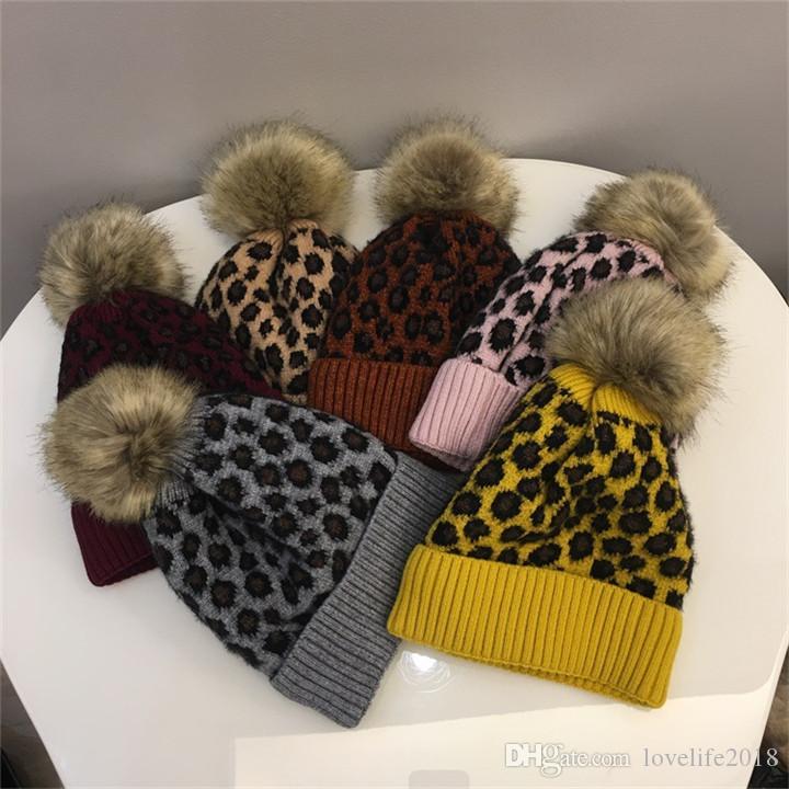 Parent-child Family Beanies Leopard Warm Fleece Soft Skull Cap Pom Pom Baby Knitted Hats Faux Fur Ball Winter Knit Kid Earflap Cap T593