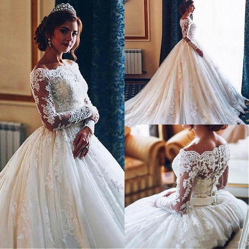 Luxe Robes de Mariée Illusion manches longues balayage train chapelle château Robes de mariée Princesse robe de bal Eglise Pays Vestidoe De Noiva