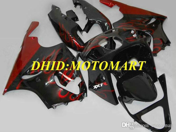 Kit de moto pour Carénage KAWASAKI Ninja ZX7R 97 99 00 03 ZX 7R 1997 2000 2003 Les flammes rouges carénages noires fixées KA01
