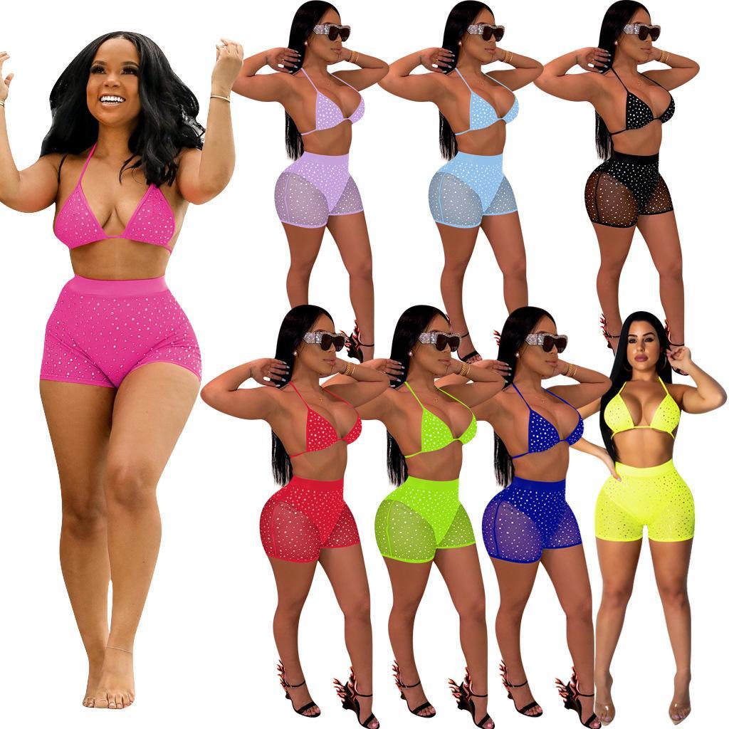 8 cores mulheres Sexy Bikini 2 dois equipamentos peças conjunto Summer Beach Swimsuit malha lantejoulas Abrir volta Bra calções moda praia roupas ternos partido