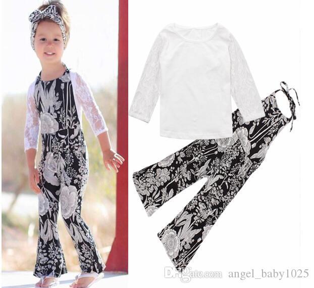 2019 nouveaux vêtements pour enfants de style européen et américain filles d'été 2 pièces ensemble chemise à manches en dentelle + fleur pendaison pièce de cou pantalon évasé