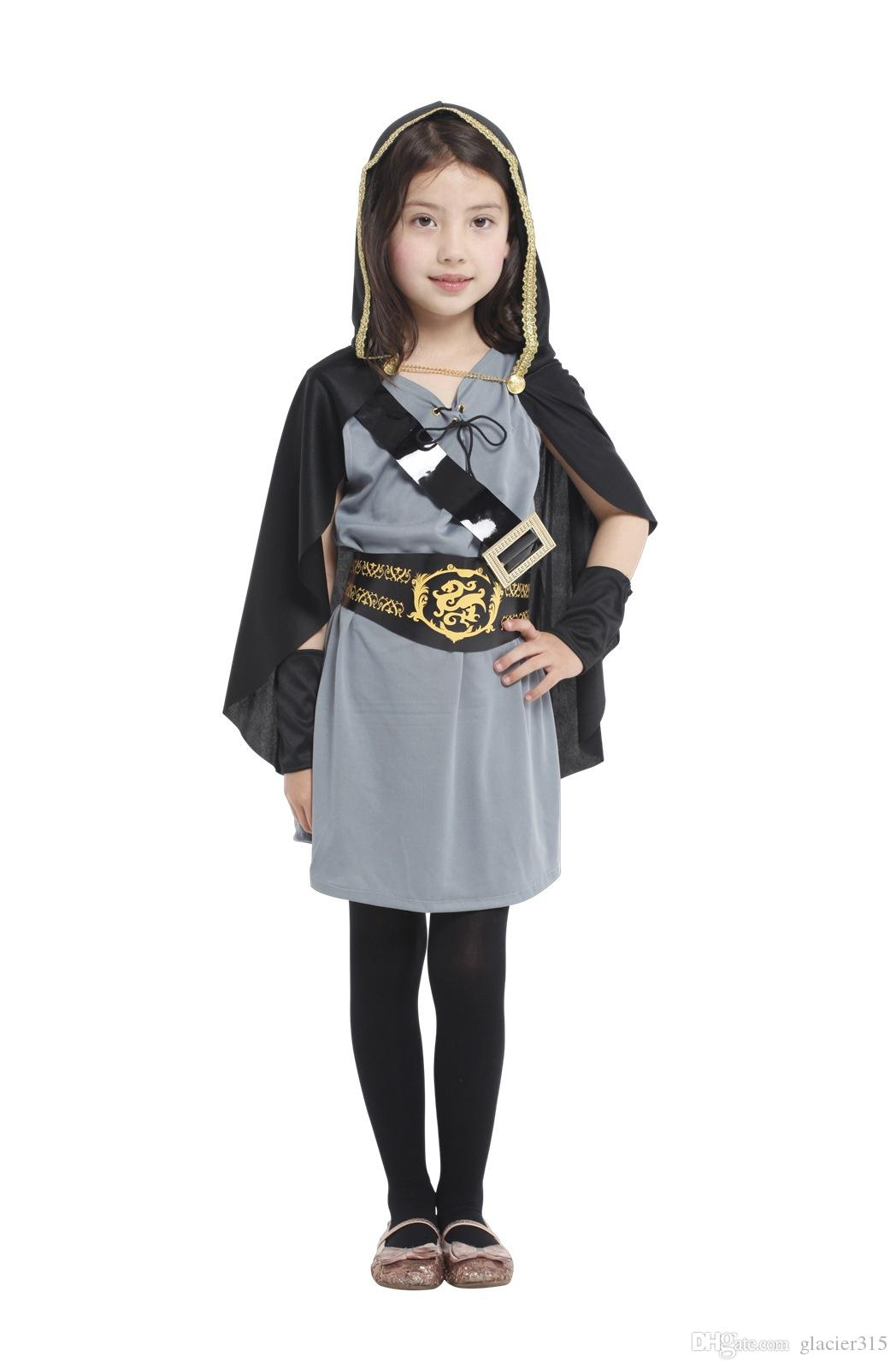 Shanghai Story Child Kids Hooded Archer Huntress Costume for Girls Medieval Warrior Knight Costumes Fancy Dress Halloween Purim Carnival