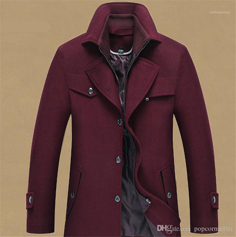 Doppeltem Kragen Stehkragen Herren Mäntel Mens Fashion Designer Jacken neuen Mens Wool Overcoat mit