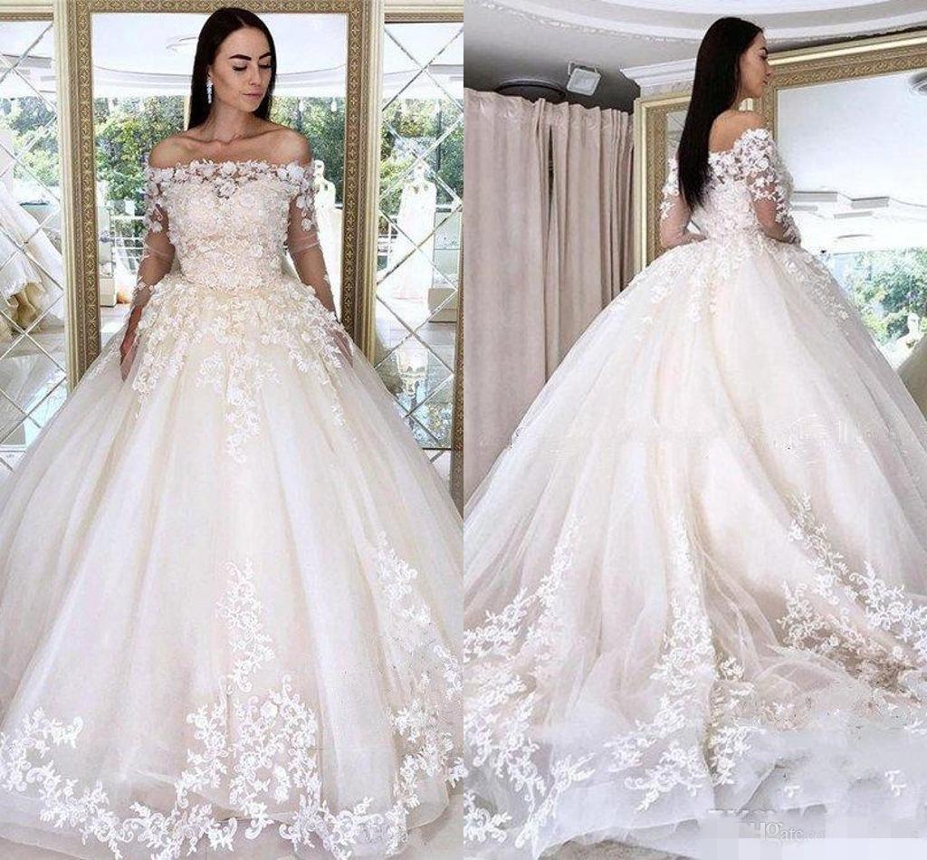 Elegante fuori dalla spalla Abiti da sposa 3D Applique floreale 3/4 maniche lunghe in pizzo illusione da sposa abito di sfera robe de mariee