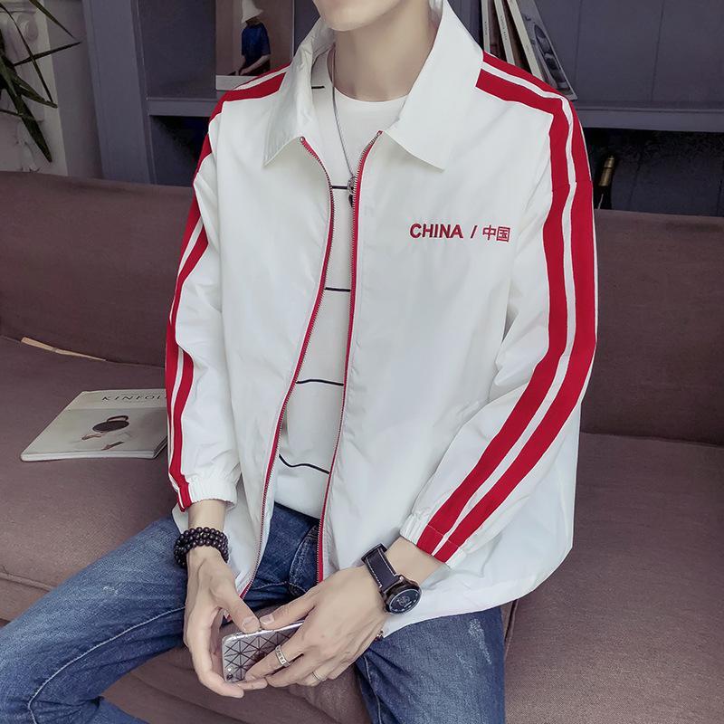 Cool2019 الصين شخصية اللباس مطرز صف واحد سستة التلبيب الرجال ارتداء سترة المد