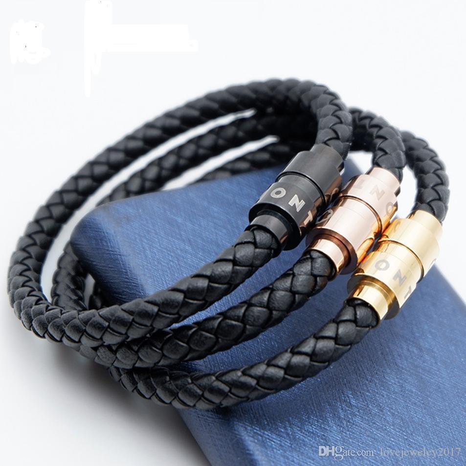 erkekler siyah Marka logosu Pulsera lüks bilezik ince takı için metal Manyetik toka tasarımı ile sıcak satış dokuma deri bilezik