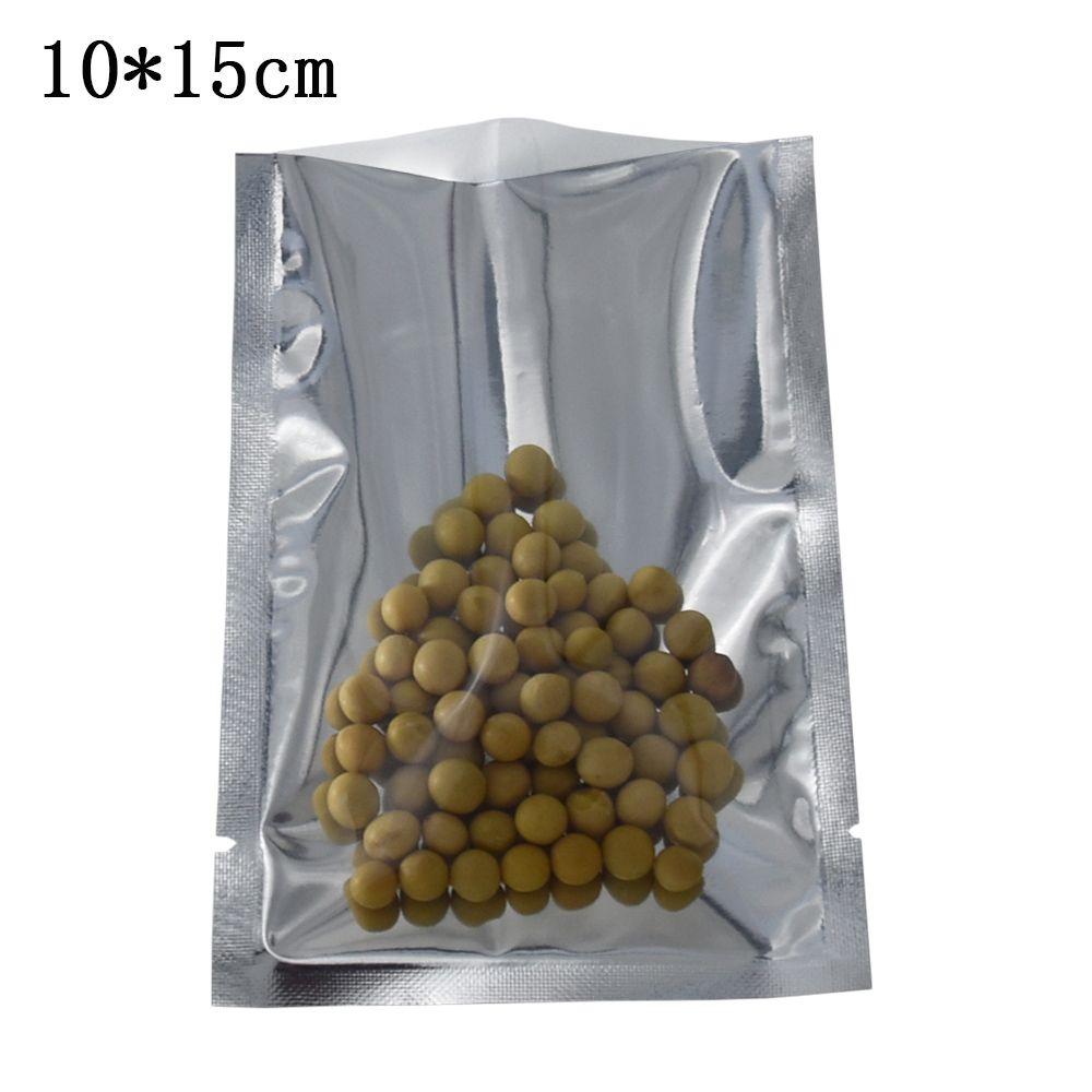 200 Pieces 10x15cm Clear / Silver Aluminum Foil Food Storage Vacuum Bag Heat Sealable Open Top Transparent Plastic Mylar Foil Package Bags