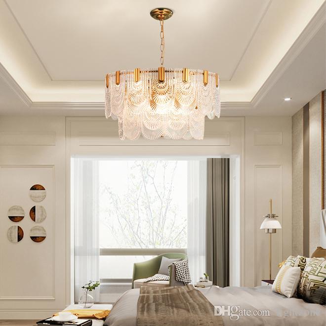 تركيبات الإضاءة المعاصرة الفاخرة الزجاج الثريا الثريات أضواء الحديثة مصباح قلادة قابل للتعديل لغرفة المعيشة غرفة نوم بهو