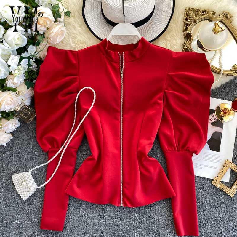 YornMona gute Qualität Reißverschluss-Entwurf mit Puffärmeln Bluse Shirt Gothic Ins Fashion Frühling Herbst Red Frauen Tops Damen Top Blusas