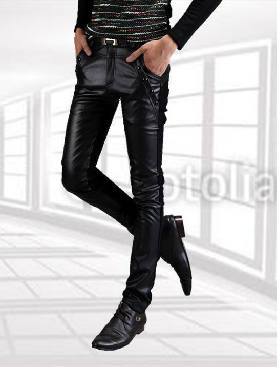 2020 eğilim erkek pantolonları ince erkek deri pantolon dar deri motosiklet gündelik dikiş