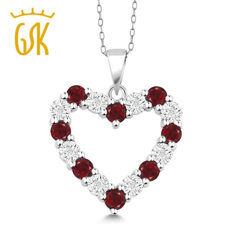 Gemstoneking diamante naturale e granato rosso 925 ciondolo cuore in argento sterling collana per le donne J190706