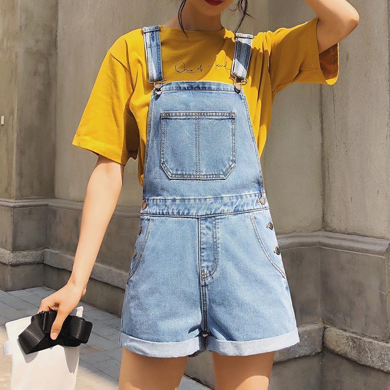 2020 verano pantalones cortos flojos azules claros de Lavado El traje de vaquero para los pantalones vaqueros femeninos mujer Mono