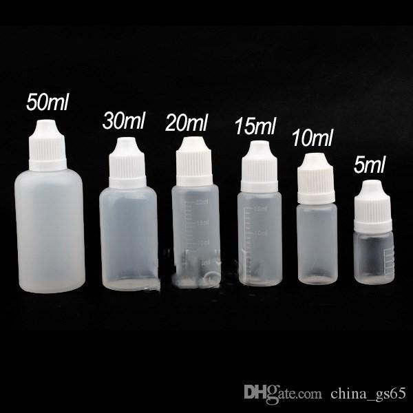 Frascos plásticos do conta-gotas do E-líquido vazio do E-suco do Cig de E 3ml 5ml 10ml 15ml 20ml 30ml 50ml 100ml 120ml com tampão à prova de crianças DHL