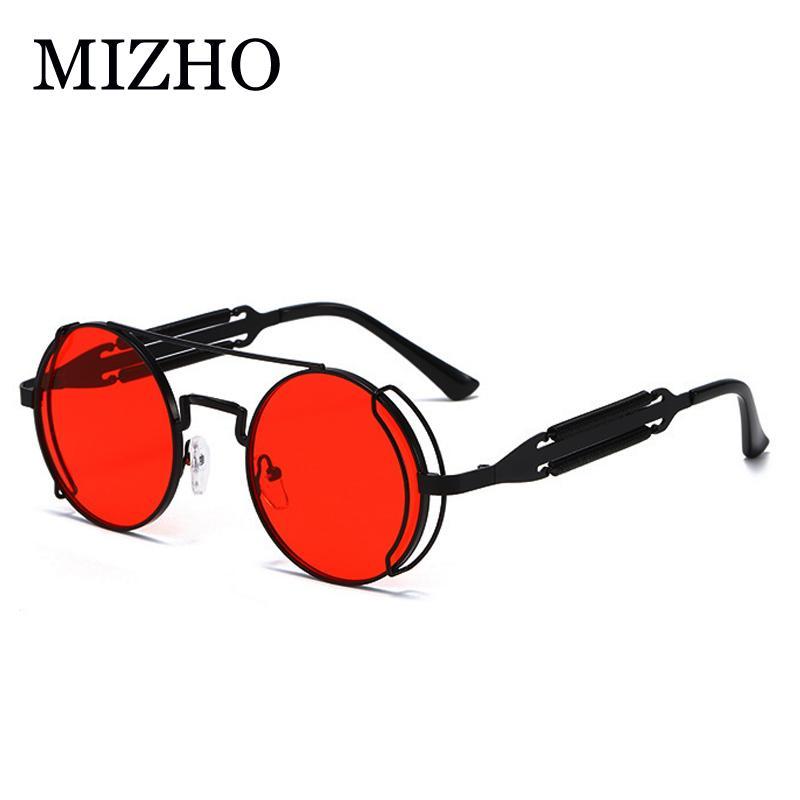 MIZHO 2020 Vintage Uomini Occhiali da sole le donne retrò stile punk rotonda telaio in metallo colorato lente di vetro di Sun Fashion Eyewear Hip Hop