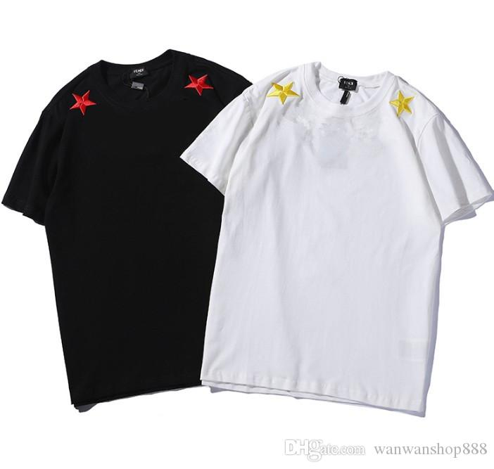 19SS Summer New Couple Loose T-Shirts Tees Brand Design Embroidered Letter F Female Short Sleeve T-Shirt Luxury Designer Men Cotton T-Shirts