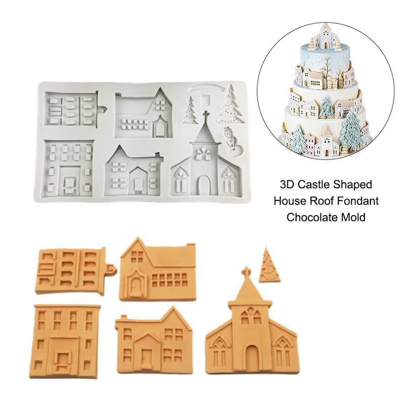 3D Castle Shape House Roof Fondant Chocolate Mold Liquid Silicone Mold DIY Cake Decoration Baking Tool ramadan decoration