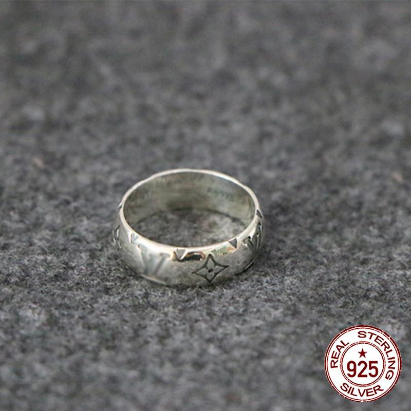 925 gümüş yüzük mektup stil çift moda kişilik Retro basit halka sıcak yeni 2020 sevgilisinin hediye göndermek