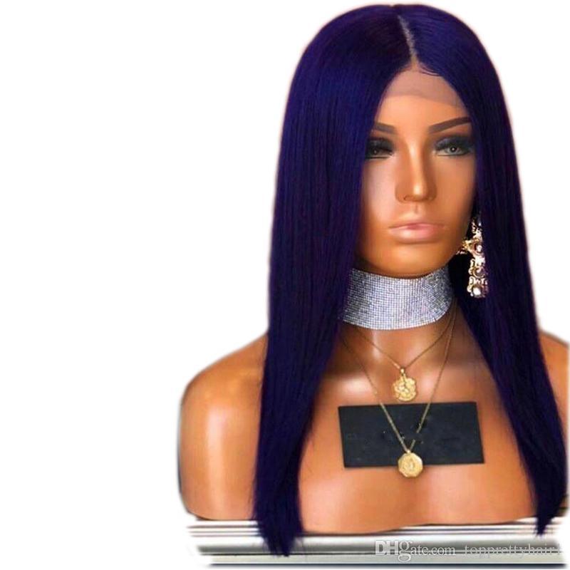 Blu pizzo parrucca anteriore sintetica per le donne Glueless Nero Medio Parte diritta serica termoresistente Glueless parrucche sintetiche dei capelli del bambino Con