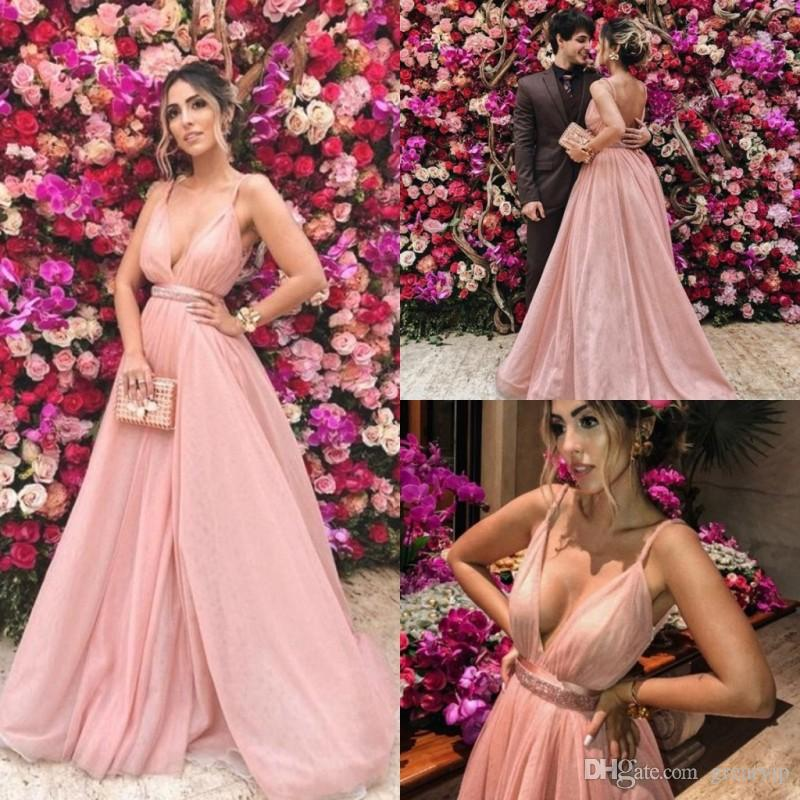 Robes de soirée en tulle rose spaghetti Peplum Sash dos nu balayage train robes de bal de bal