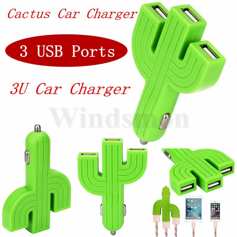 Cell Phone Charger Input DC 12V-24V Cactus Car Cellphone Multifunction 3 USB Ports Chargers