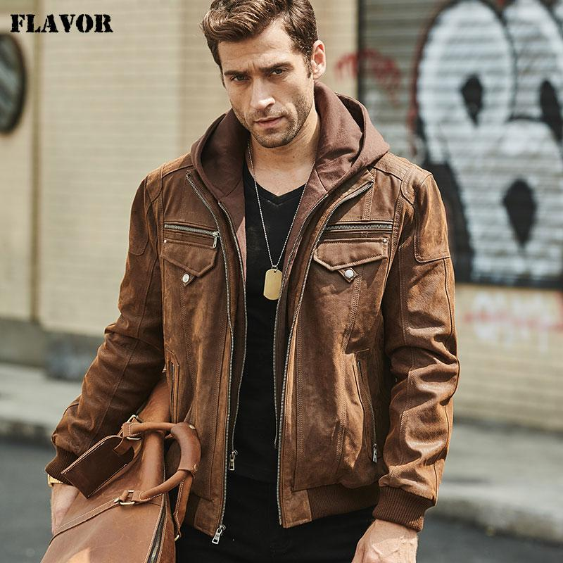 FLAVOR New Men's Real Leather Jacket with Removable Hood Brown Jacket Genuine Leather Warm Coat For Men CJ191128