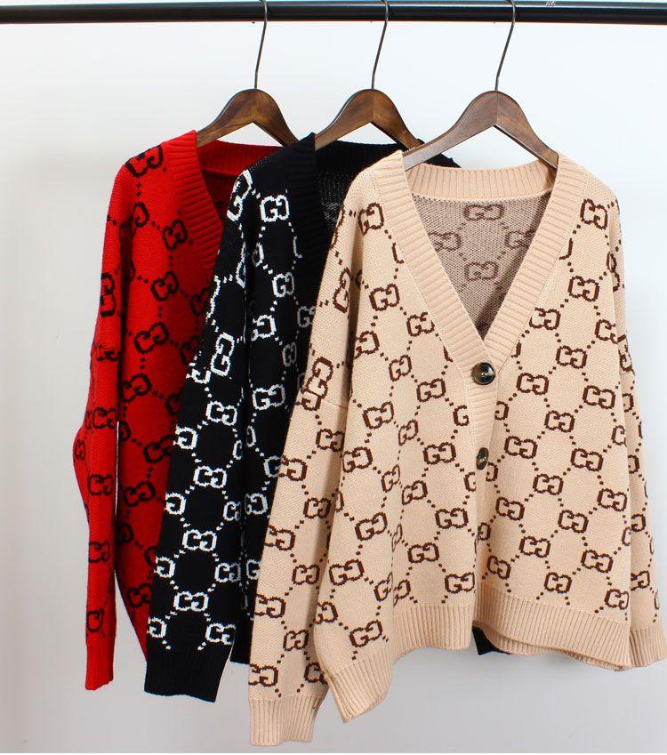 newGG femmes boutons Pull Pull cardigan maille jacquard Tops Chemises à glissière de couleur assortie outwear