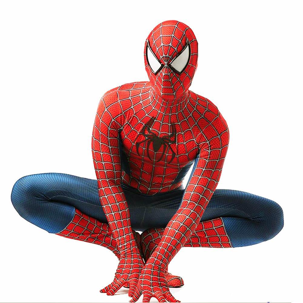 클래식 코스프레 스파이더 맨 의상 레드 빅 스파이더 맨 원피스 바디 수트는 큰 검은 거미는 여러가 사용할 수있는 크기 인쇄