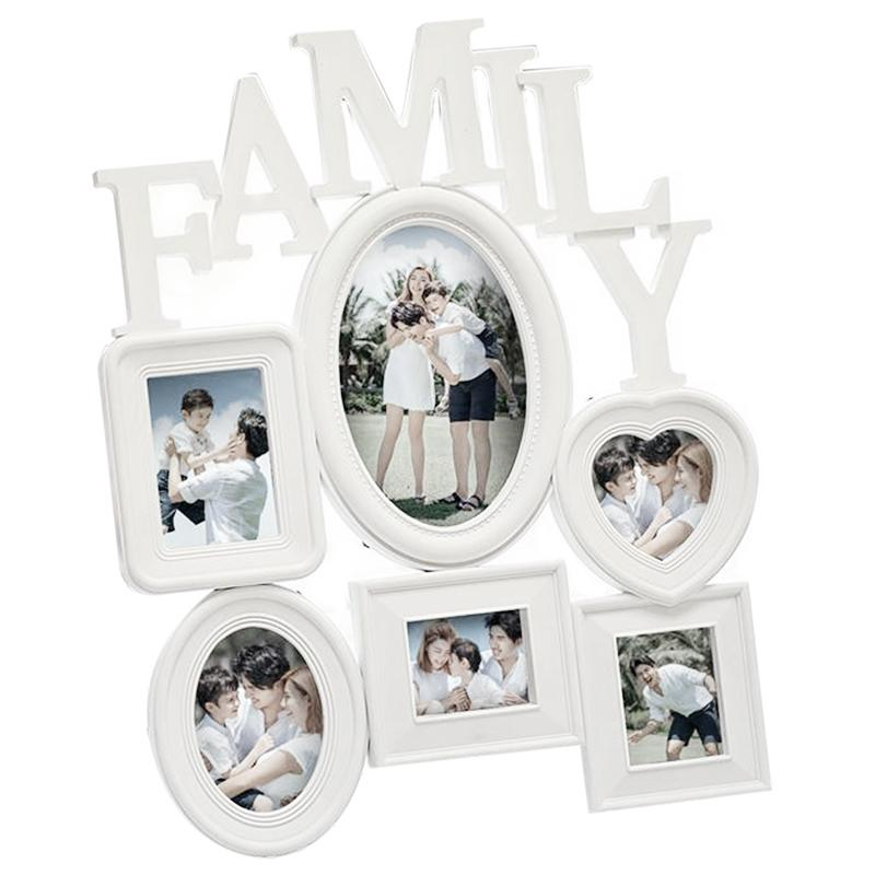 Family Photo Frame Wall Hanging 6 Multi-Sized Pictures Holder Display Home Decor Gift 30X37Cm Back Side with Pull Tabs- White