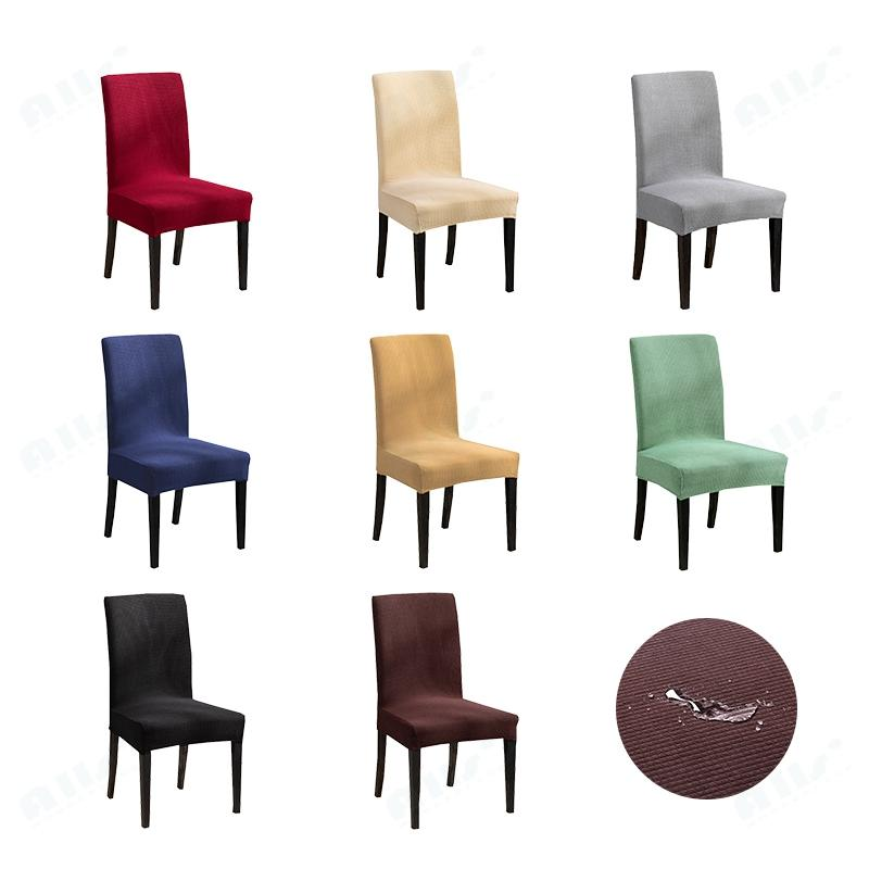 Su geçirmez Sandalye Kapak bölümünü birleştiren 1pc Saf Renk Kırmızı Mavi Kahverengi Gri Ziyafet / Yemek
