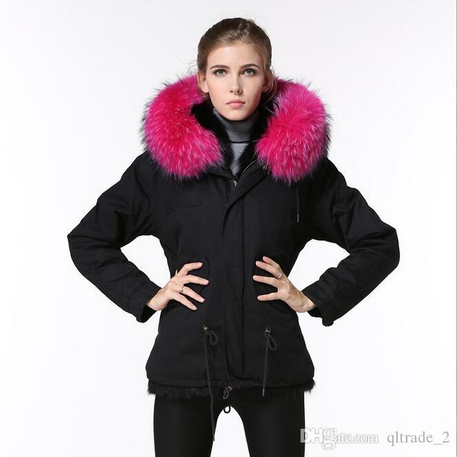 Vendita calda rosa pelliccia di procione trim Meifeng donne di marca giacca da neve nero fodera in pelliccia di mik nero mini parka